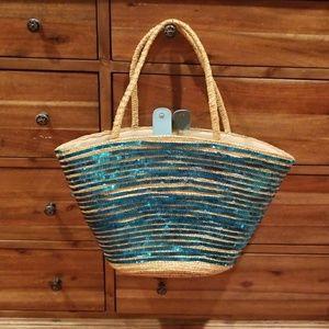 Large sequin straw beachbag